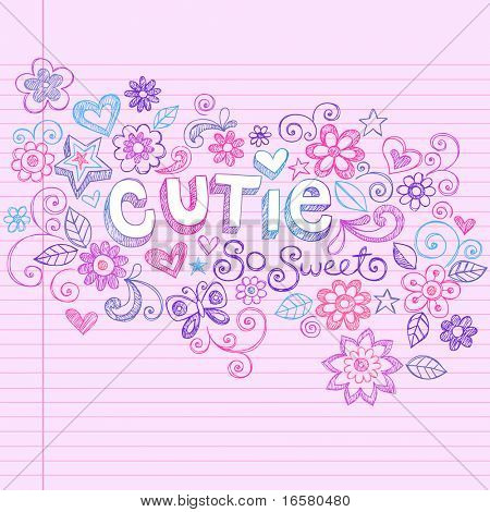 Hand-Drawn Cutie Letting and Flowers Sketchy Notebook Doodles Design Elements on Pink Lined Paper Background- Vector Illustration