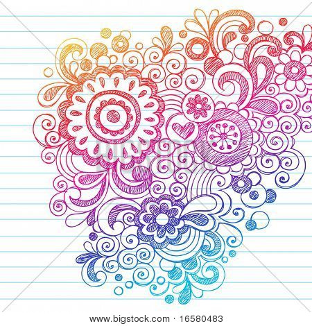 Hand-Drawn Abstract Flowers Sketchy Notebook Doodles Design Element on Lined Paper Background- Vector Illustration