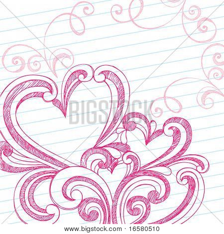 Hand-Drawn Valentine's Day Swirls and Hidden Hearts Sketchy Notebook Doodles on Lined Paper Background- Vector Illustration Design Elements