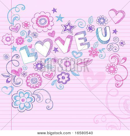 Hand-Drawn Love U Letting and Sketchy Notebook Doodles- Design Elements on Pink Lined Paper Background- Vector Illustration