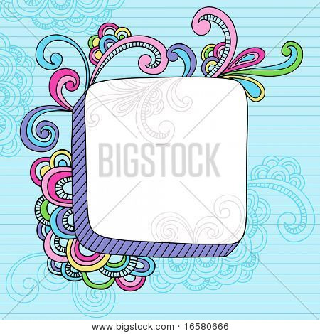 Hand-Drawn Abstract Psychedelic Notebook Doodles Design Element Frame on Lined Sketchbook Paper Background- Vector Illustration