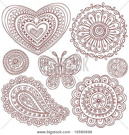 Hand-Drawn Henna (mehndi) Heart, Flower, Butterfly, and Paisley Doodle Vector Illustration Design Elements