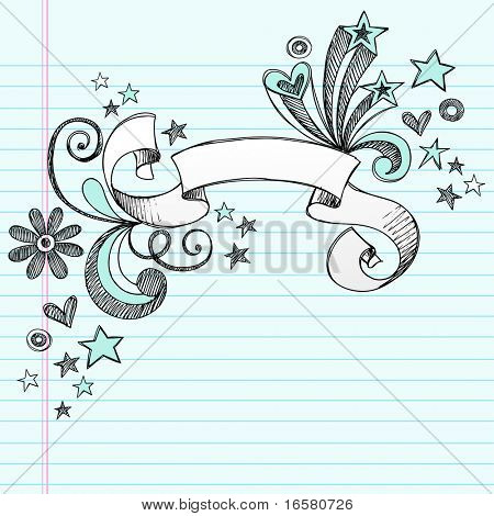 Hand-Drawn Scroll Banner Sketchy Notebook Doodles with Stars and Swirls- Vector Illustration on Lined Sketchbook Paper Background