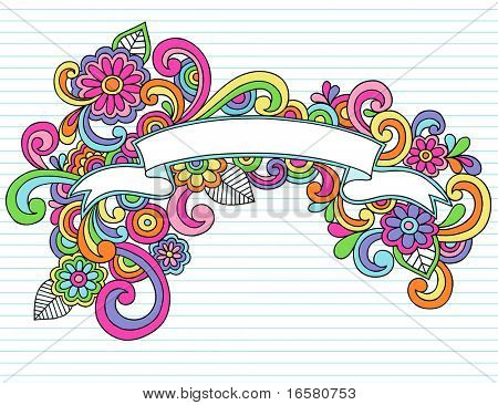 Hand-Drawn Psychedelic Banner / Scroll Notebook Doodle Design Element on Lined Sketchbook Paper Background- Vector Illustration