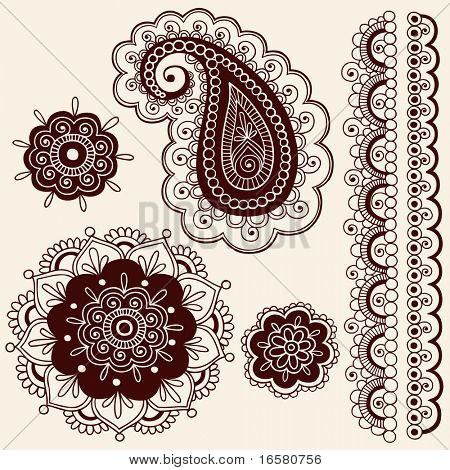 Hand-Drawn Abstract Henna Mehndi Flowers and Paisley Doodle Vector Illustration Design Elements