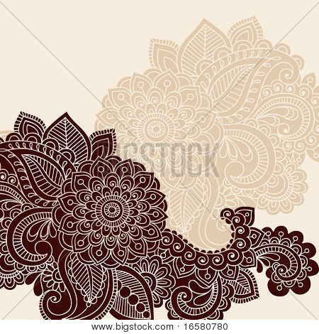 Hand-Drawn Abstract Henna Mehndi Flowers and Paisley Vector Illustration Design Element