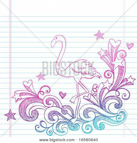 Hand-Drawn Summer Vacation Pink Flamingo and Swirls Sketchy Notebook Doodles Vector Illustration on Lined Sketchbook Paper Background