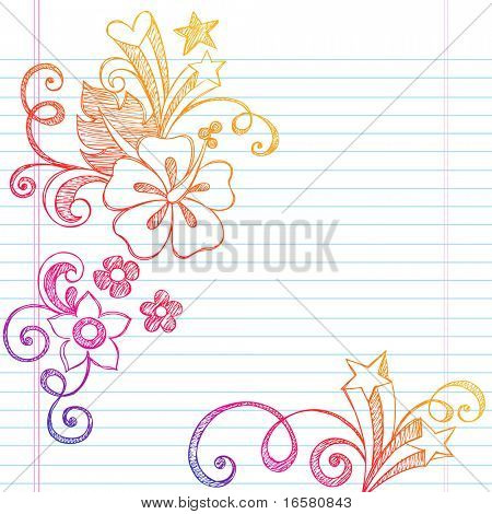 Hand-Drawn Summer Vacation Hibiscus Flower and Swirls Tropical Sketchy Notebook Doodles Vector Illustration on Lined Sketchbook Paper Background