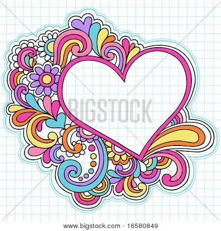 Hand-Drawn Psychedelic Groovy Heart Notebook Doodles on Graph (Grid) Sketchbook Paper Background- Vector Illustration