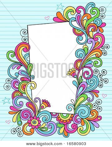Hand-Drawn Psychedelic Groovy Notebook Doodle Decorative Rectangle Frame on Blue Lined Sketchbook Paper Background- Vector Illustration