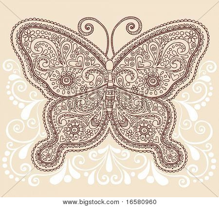 Hand-Drawn Ornate Butterfly Henna Mehndi Paisley Doodle Vector Illustration Tattoo Design Element with Swirls