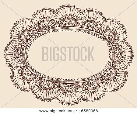Encajes hechos a mano Doilie/alheña Paisley Doodle Vector ilustración marco frontera diseño elemento