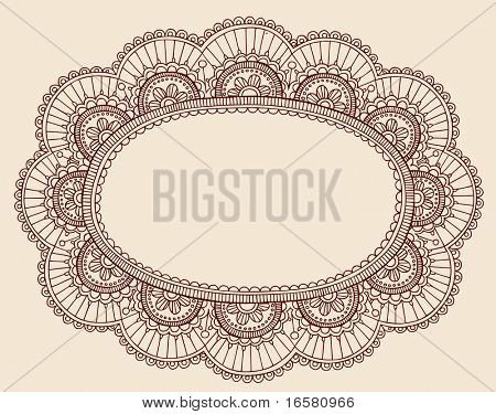 Hand-Drawn Lace Doilie Henna/Mehndi Paisley Doodle Vector Illustration Frame Border Design Element