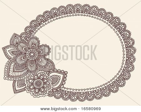 Hand-Drawn Lace Doilie Henna/Mehndi Paisley Flower Doodle Vector Illustration Frame Border Design Element
