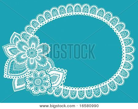 Hand-Drawn Lace Doily Henna / Mehndi Paisley Flower Doodle Frame Border- Vector Illustration Design Element