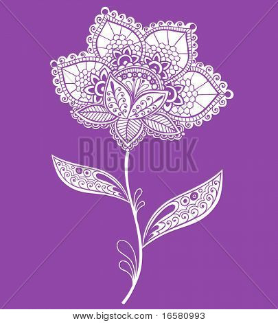 Hand-Drawn Lace Doily Henna / Mehndi Doodle- Paisley Flower Vector Illustration Design Element