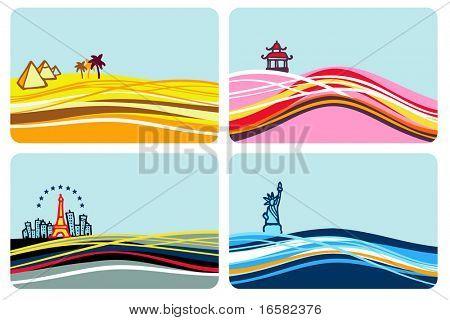 World destinations - illustrations - set -