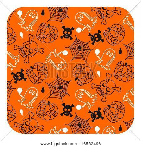 Halloween pattern- orange - illustrations - -