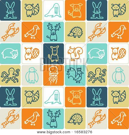 Animals check pattern 2 - illustrations - icons set -