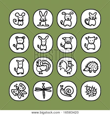 black and white icon set - animals 2 -