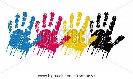 vector CMYK hands