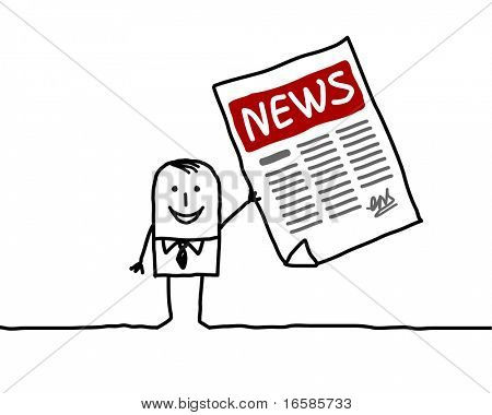 man and news