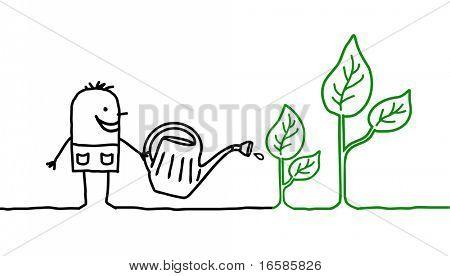 man and gardening