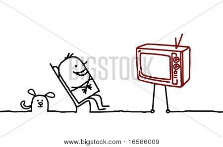 man and television