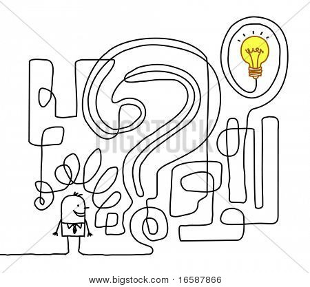 hand drawn cartoon character - finding the solution