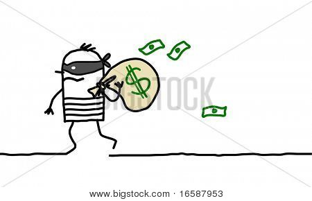 robber carrying a bag of dollars
