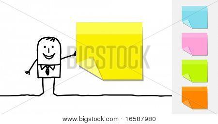 businessman & blank sticky notes