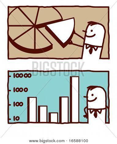 businessman & statistic charts