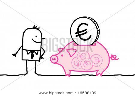 man & piggy bank