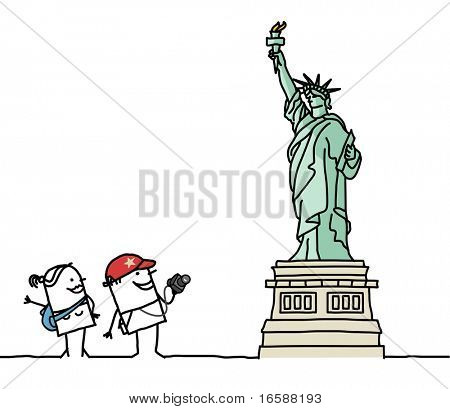 tourists & Statue of Liberty