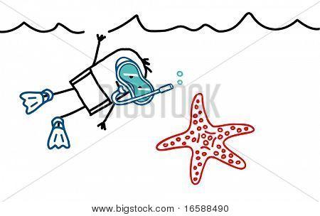 man with scuba mask & starfish