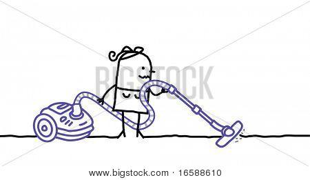 vacuuming woman