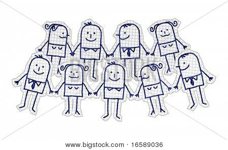 hand drawn cartoon characters on checked paper - harmonious & peaceful group