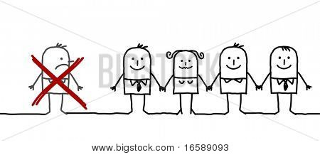 hand drawn cartoon characters - united group & excluded man