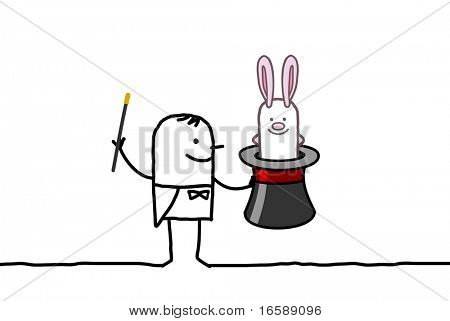 hand drawn cartoon characters - magician & rabbit