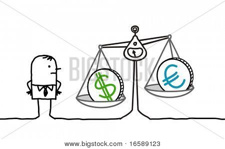 hand drawn cartoon characters - businessman & currencies in balance