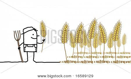 hand drawn cartoon characters - farmer & wheat harvest