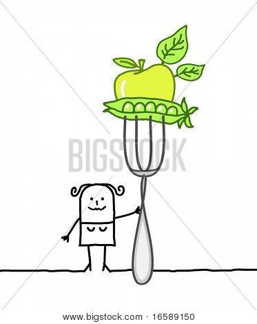 Hand drawn personajes de dibujos animados - mujer vegetariana