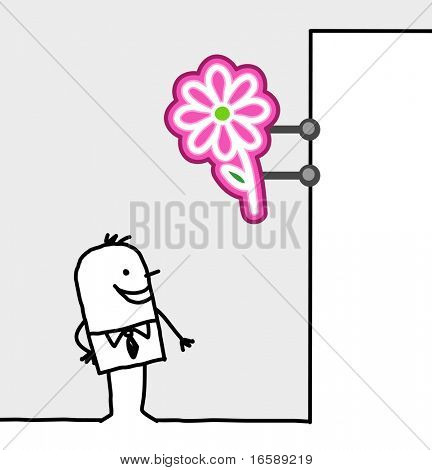 hand drawn cartoon characters - consumer & shop sign - flowers
