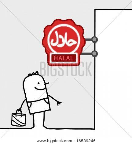 hand drawn cartoon characters - consumer & shop sign - halal