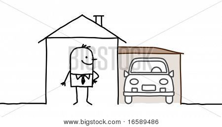 man & house with garage