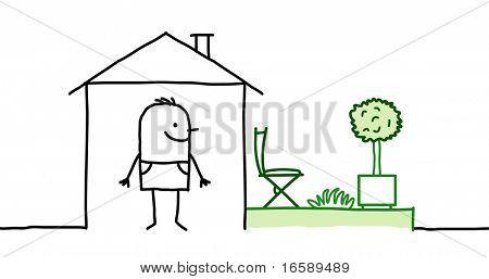 man & house with garden