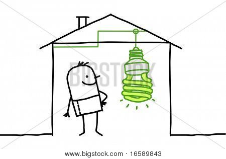 man in house & green light