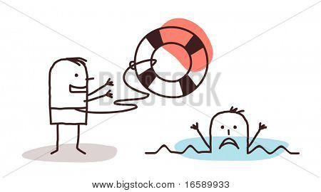 drowning man & rescuer with lifebuoy