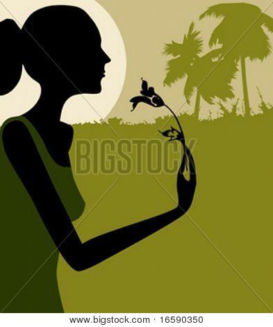 woman smelling a flower in moonlight