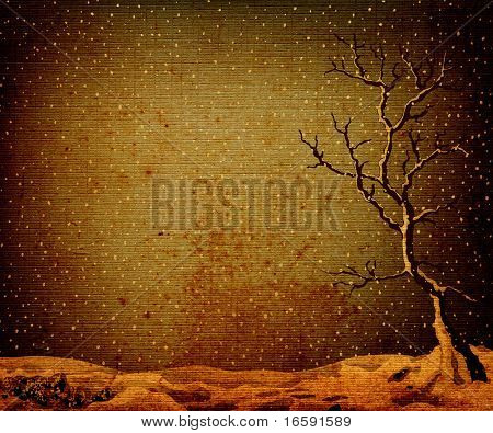 landscape with lonely tree on a plain, fantasy design on brown old textured paper